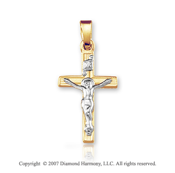 14k Two Tone Gold Classic Style Medium Carved Crucifix